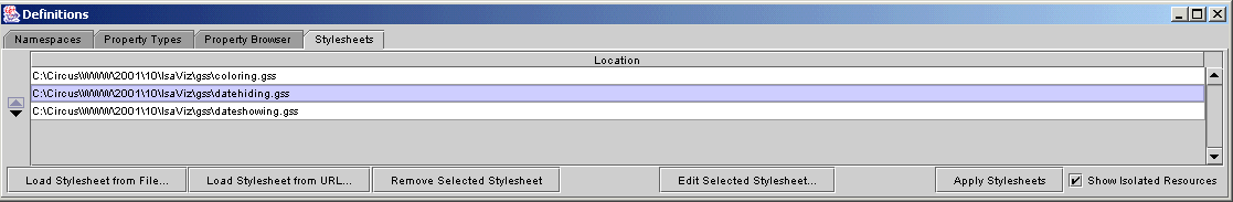 Figure 2-a: Stylesheet Management GUI in IsaVIz