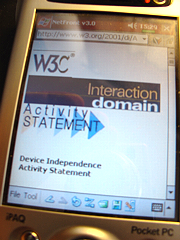 handheld display of W3C Device Independence Activity statement