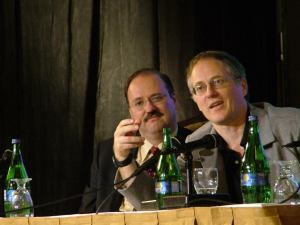Bill Ruh and Tim O'Reilly participating in a panel