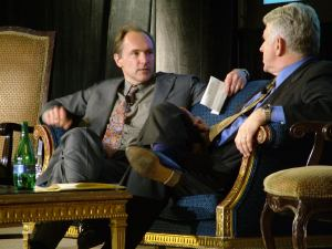Tim Berners-Lee and Bob Metcalfe seated on stage