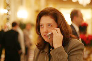 Susan Westhaver talking on a mobile phone