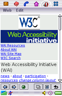 The WAI home page on a SP910 phone