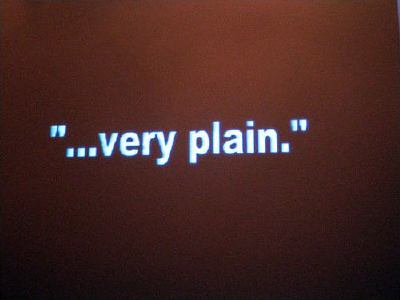 slide saying 'very plain...'