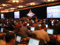 W3C Plenary meeting audience hall viewed from halfway back on the righthand side.