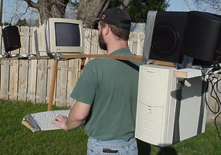 Joke about Mobile Computing:  Person wearing a desktop system