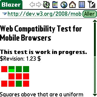 Screenshot of web compatibility test for mobile browsers in blazer 4.3.2.1