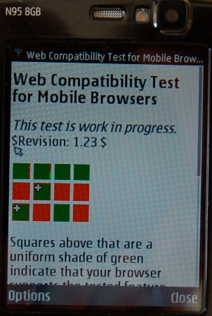 Screenshot of web compatibility test for mobile browsers in n95-s60