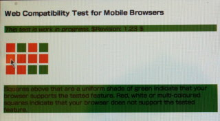Screenshot of web compatibility test for mobile browsers in netfront on psp