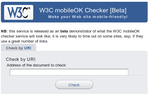 Screenshot of mobileOK checker