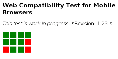 Screenshot of Web compatibility test