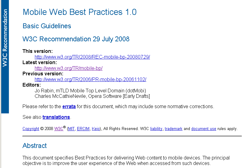 screen grab of MWBP doc http://www.w3.org/TR/mobile-bp
