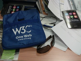 One Web Day bag from W3C. Photo credit: Marie-Claire Forgue