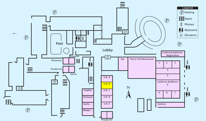 Floor plan with highlight on Grand Ballroom B