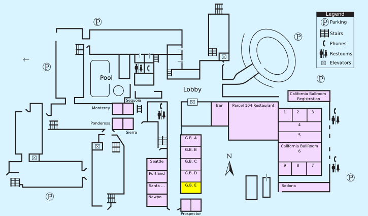 Floor plan with highlight on Grand Ballroom E