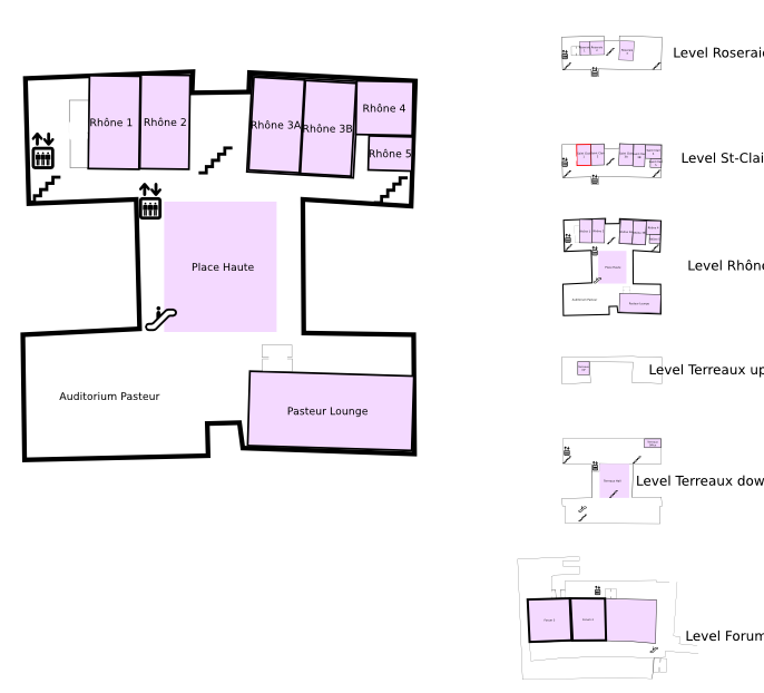 Floor plan with highlight on Place Haute