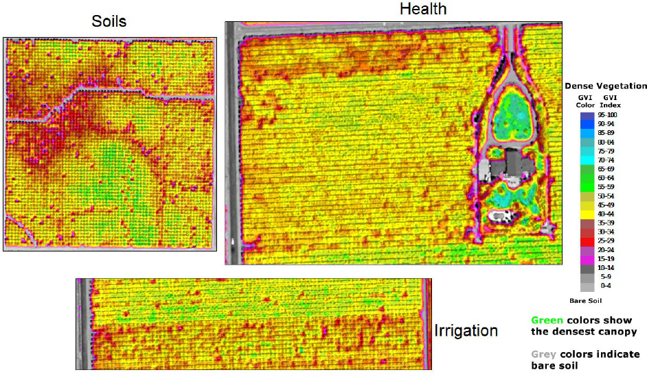 Three images of spectral analysis of satellite images of agricultural land