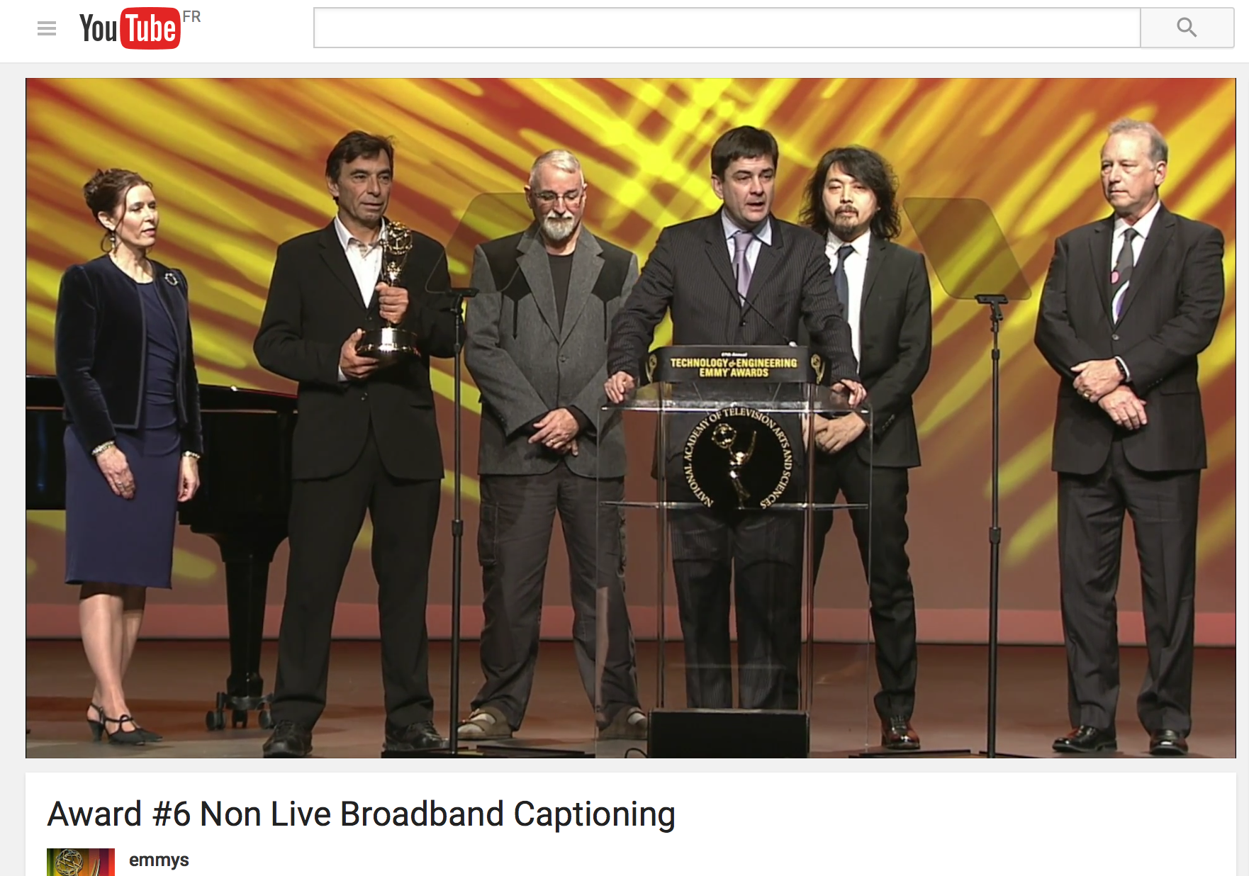 screenshot of the Emmy Award acceptance by W3C