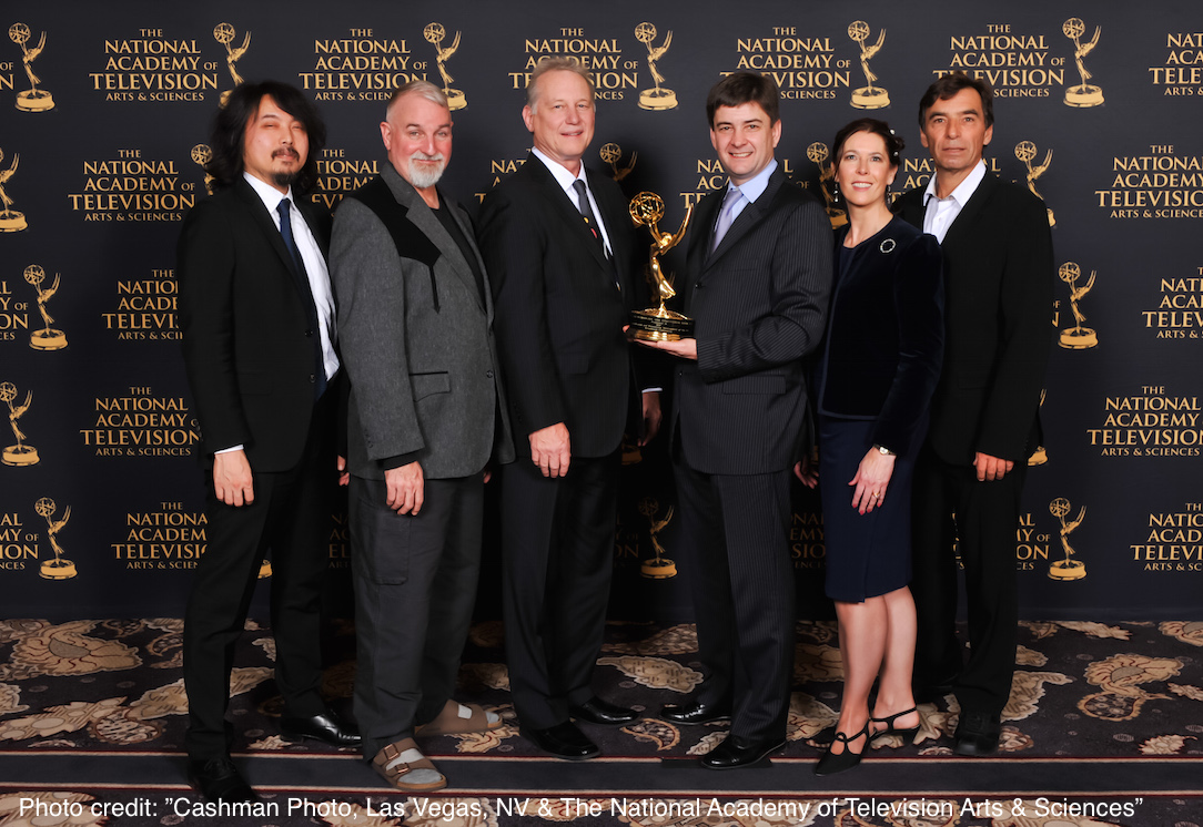 Picture of Philippe Le Hegaret, W3C and TTML WG Representatives accepting the Emmy