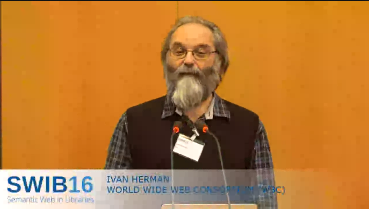 screenshot of Ivan Herman's keynote (Packaged) Web Publications, filmed talk at Semantic Web in Libraries (ISWB16)