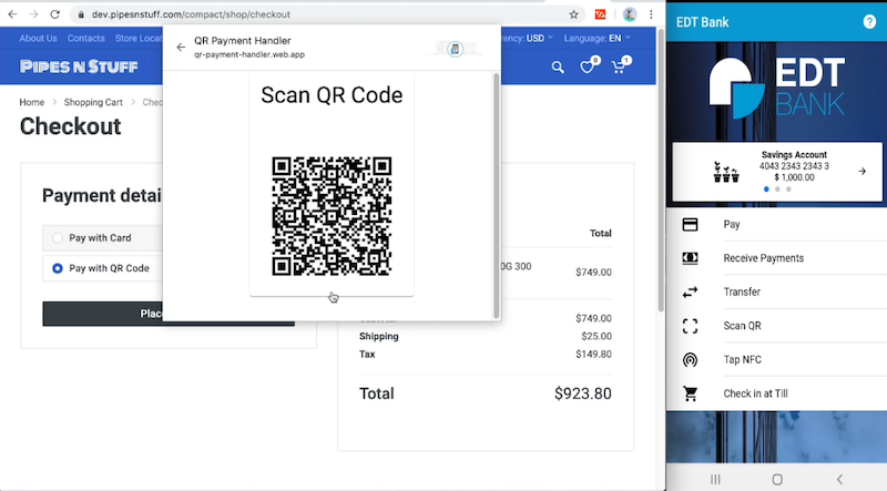 Entersekt QR demo showing a desktop checkout, QR code scanned by phone, and authentication via that phone.