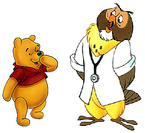 The drawing of Winnie the Pooh and OWL