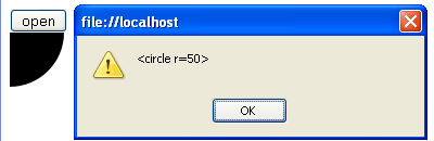 alert box showing <circle r=50>