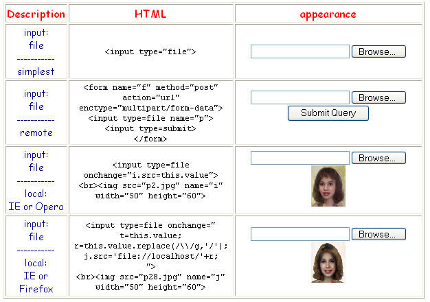 screen shot of HTML page with examples of input type='file'