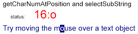 a letter, within a string, selected by the mouse