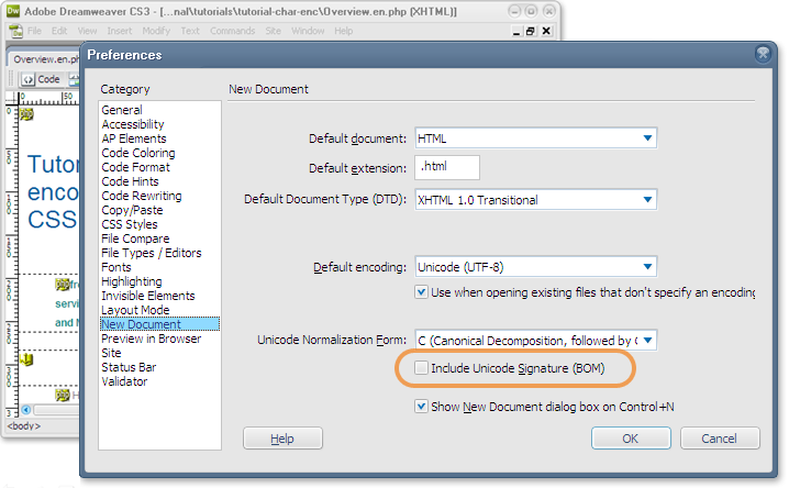 BOM preferences on a dialog panel.