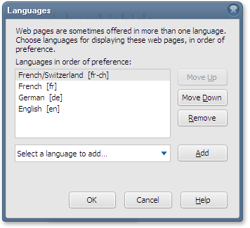 A screen-grab of the Firefox dialog box for changing Language Preferences.