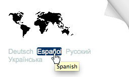 Screen snap showing a tooltip containing the word 'Spanish' popping up from the document text 'Español'.