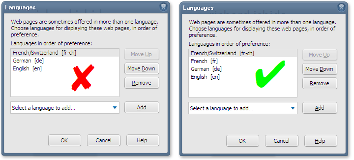 Setting language preferences in a browser