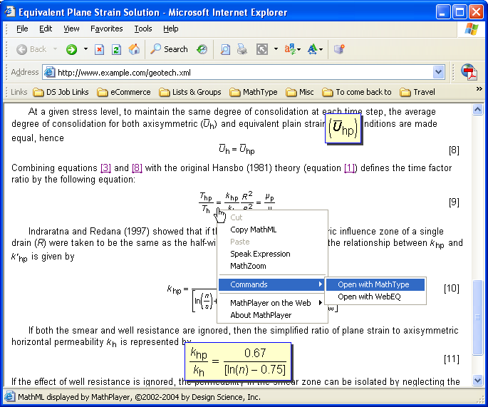 Screendump: opening the context menu of an equation in a Web page gives access to a menu of commands.