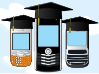 Anonymous mobile devices wearing academic mortar boards
