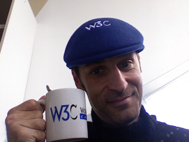 Karl Dubost with a French W3C Beret