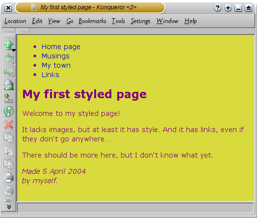 Screenshot of the colored page in Konqueror