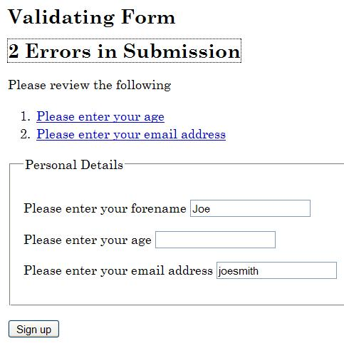 Screenshot showing the error messages for several fields that were not filled out correctly. Error messages appear as a list of links near the top of the form.