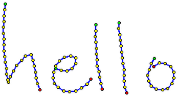 example rendering of a trace showing the words 'hello'