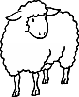 Woolly the sheep (black and white)