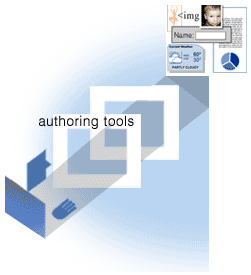 diagram of author using an authoring tool to create web content