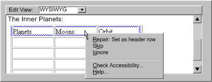 Mockup of a utility providing context sensitive repair. The checker highlights the top row of a data table and the repair menu offers the option to set it as a header row.