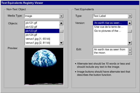 A mockup artwork library dialog box where the alt text is suggested, but can be edited by the author.