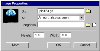 A mockup 'Image Properties' dialog box in which the input fields are: source, short label, long description, height, and width.