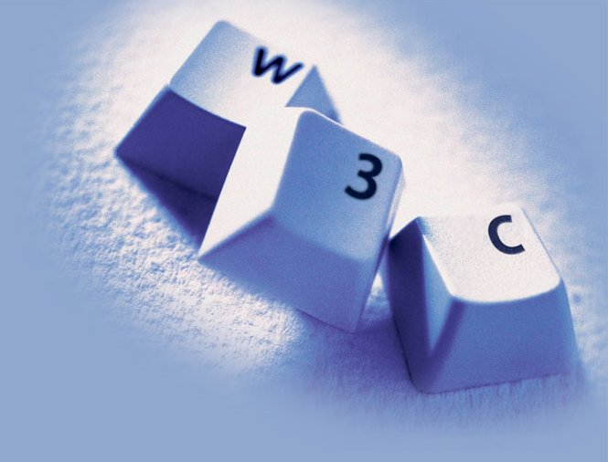 W3C as letters on 3 plastic buttons from a keyboard