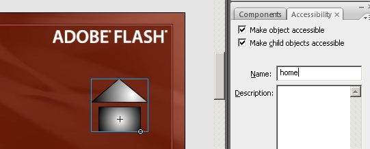 The Accessibility panel in the Flash authoring environment.