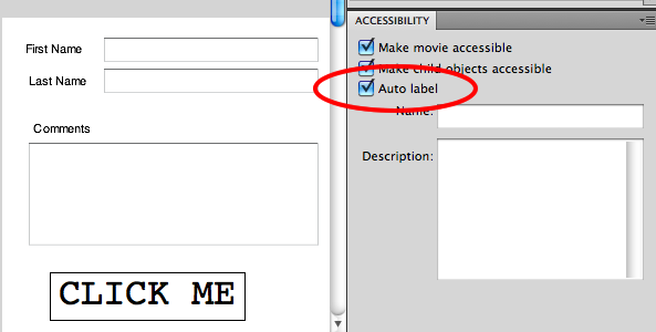Using the Auto Label feature in the Flash Authoring Environment