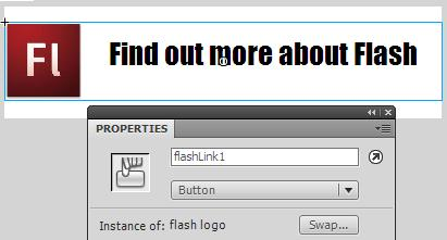 screen shot showing the combined button with an instance name 'flashLink1'