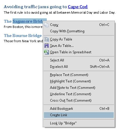Image of a PDF document with text selected to create a hyperlink. The context menu shows Create Link selected.