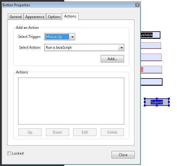 The Button Properties dialog for a submit button.