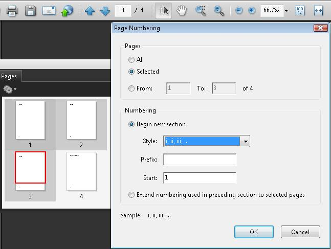 Three pages selected on the Pages panel and the Page Numbering dialog specifying the new page styles. The starting page is specified as 1 (default), which is correct.